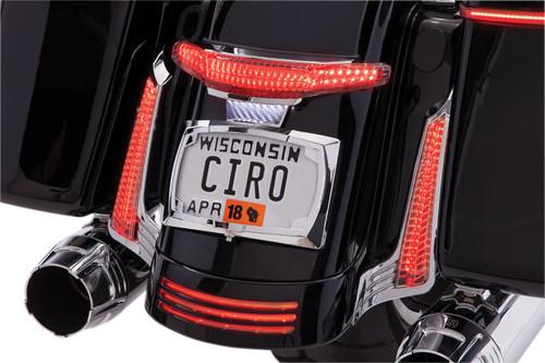 Ciro Latitude Tail Light & License Plate Holder for '14-Up Harley Davidson Touring FLHX, FLHXS, FLTRXS, FLHRS - Chrome
