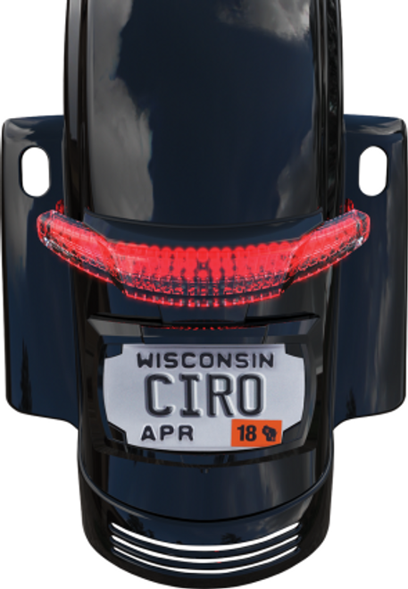Ciro Latitude Tail Light & License Plate Holder for '14-Up Harley Davidson Touring FLHX, FLHXS, FLTRXS, FLHRS - Black