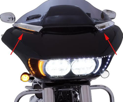 Ciro Horizon LED Lighted Windshield Trim For '15-Up Harley Davidson Road Glide Models - Chrome