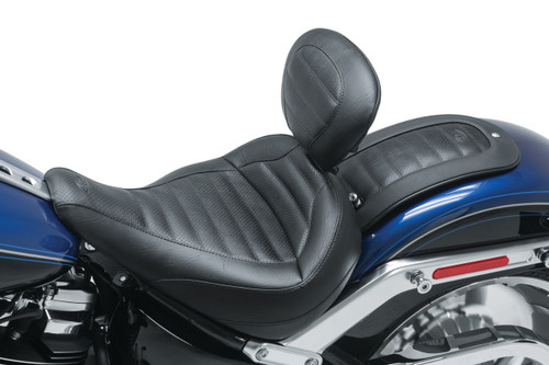 Mustang Standard Solo Touring Seat with Backrest for '18-Up Harley-Davidson Softail Fat Boy