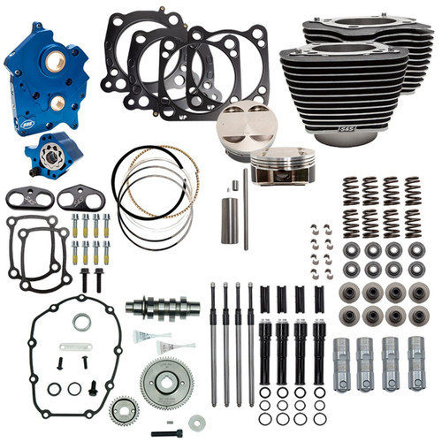 S&S Cycle Big Bore Kit Power Package 124 inch CI Water Cooled with Highlighted Fins and Gear Drive Cam for 107 inch Harley-Davidson M8 - Gloss Black Pushrod Tubes