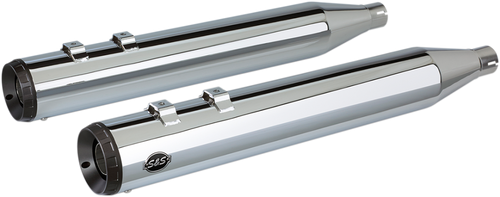 S&S Grand National Slip On Mufflers for '96-16 Harley Davidson FL Models - Chrome