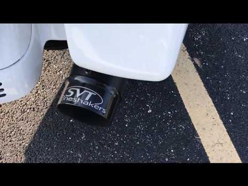 SVT Boneshaker Slip Ons for HD Touring '17-Up - Black Mufflers 4 inch Black Tips w Silver Logo [ONE SET LEFT]