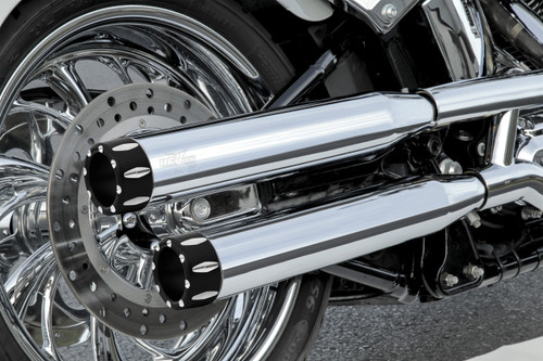 RCX 3 inch Mufflers for '95-16 Harley Davidson Dyna Models - Rival Eclipse Tips (Choose Chrome or Black)