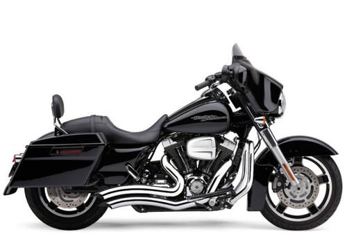 Cobra Speedster Short Swept Exhaust for 17-Up Harley Davidson Touring - Chrome Heat Shields