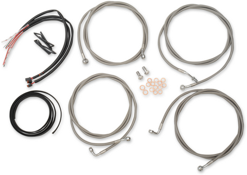 """LA Choppers Complete Stainless Steel Handlebar Cable Kit for '17-19 Harley-Davidson Touring Models - 12"""" to 20"""" WITHOUT ABS"""