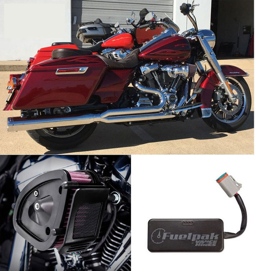 D&D Stage 1 Power Package with 4 inch 2-into-1 Tip Compatible Billet Cat Exhaust for '17-Up M8 Harley Davidson Touring Models (Chrome or Black)