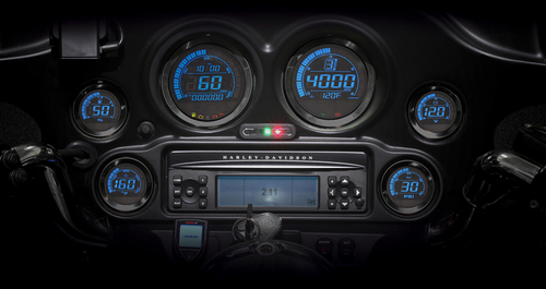 Koso HD-02 Six Piece LED Gauge Kits for '04-13 H-D FLHT, FLHX, FLTR and Trike (Silver or Black Bezels) Red and Blue Display