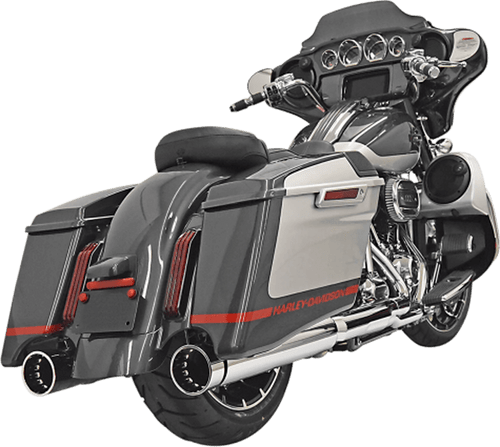 Bassani CVO 4 inch DNT Slip On Mufflers for '17-Up Harley-Davidson CVO Touring Models - Chrome