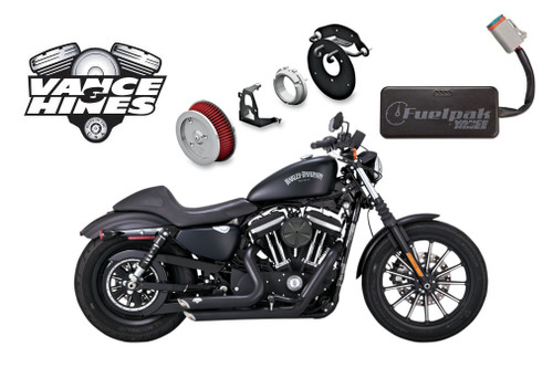 Vance & Hines Complete Stage 1 Power Package for '14-Up Harley Davidson Sportster Models - Black Shortshots