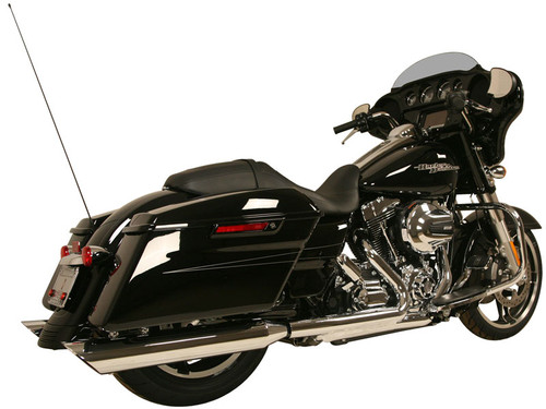 Rush Racing Gangster 4 inch Slip On Mufflers for Harley Davidson Touring Models '17-Up Chrome or Black