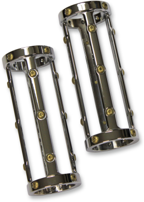 Carl Brouhard Designs Bomber Series Fork Slider Covers for '15-Up Indian Scout Black or Chrome