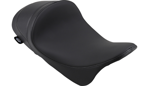 Drag Specialties EZ-ON Mount Lo Profile Solo Seat with Forward Positioning for '08-Up Harley Davidson Touring - Smooth Solar Reflective Leather
