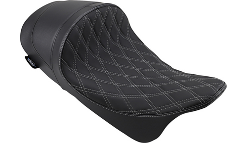 Drag Specialties EZ-ON Mount Lo Profile Solo Seat with Forward Positioning for '08-Up Harley Davidson Touring - Solar Reflective Leather Double Diamond Silver Thread