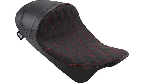 Drag Specialties EZ-ON Mount Lo Profile Solo Seat with Forward Positioning for '08-Up Harley Davidson Touring - Solar Reflective Leather Double Diamond Red Thread