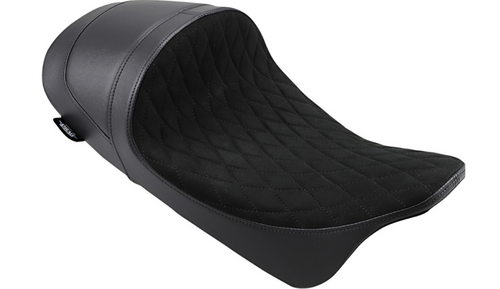 Drag Specialties EZ-ON Mount Lo Profile Solo Seat with Forward Positioning for '08-Up Harley Davidson Touring - Faux Suede Diamond Stitch