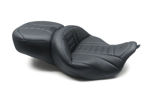 Mustang Super Touring Deluxe One-Piece Seat for Harley-Davidson Touring 2008-'20, Deluxe, Black with Sky Blue Stitching, Extended Reach
