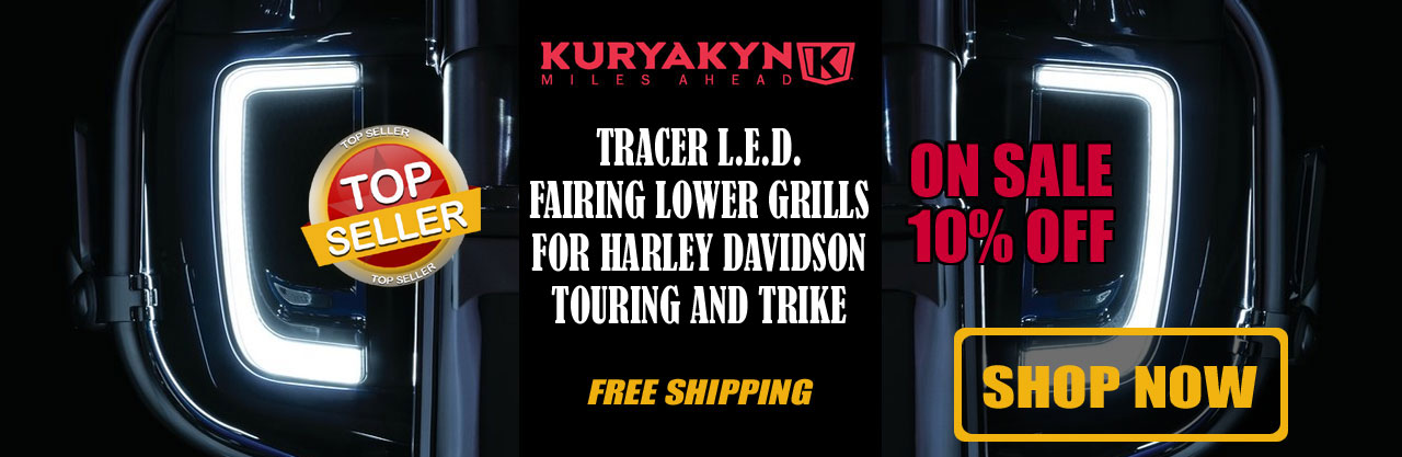 Kuryakyn Tracer L.E.D. Fairing Lower Grills for Harley Davidson Touring and Trike '14-Up