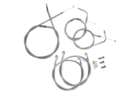 Baron Stainless Handlebar Cable & Line Kit for V-Star 1100