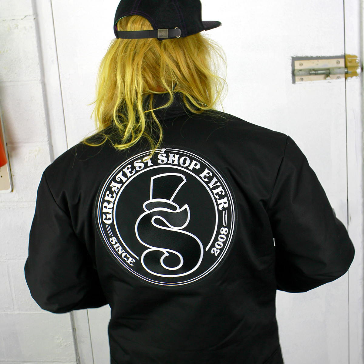 Greatest Shop Ever Black Patched Mechanic Jacket Back