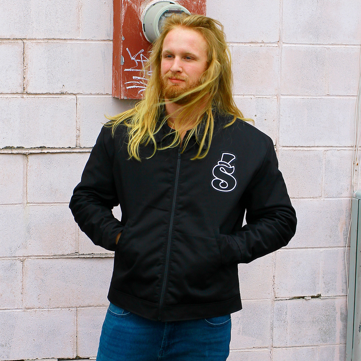Greatest Shop Ever Black Patched Mechanic Jacket Zipped