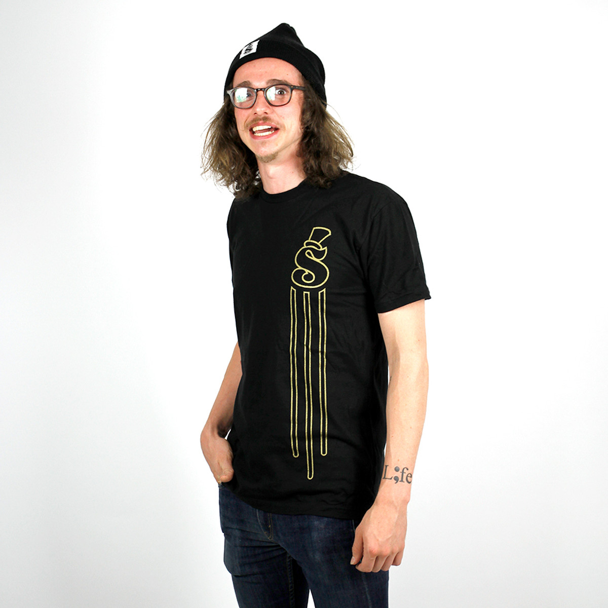 National Go Skate Day Black and Gold 3 Line S Tee