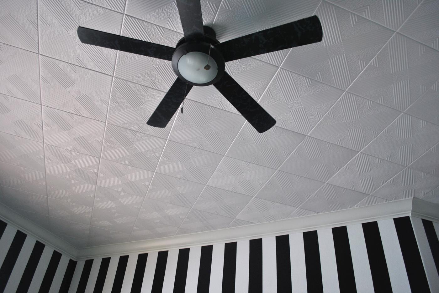 Malta White Foam Ceiling Tiles Installed