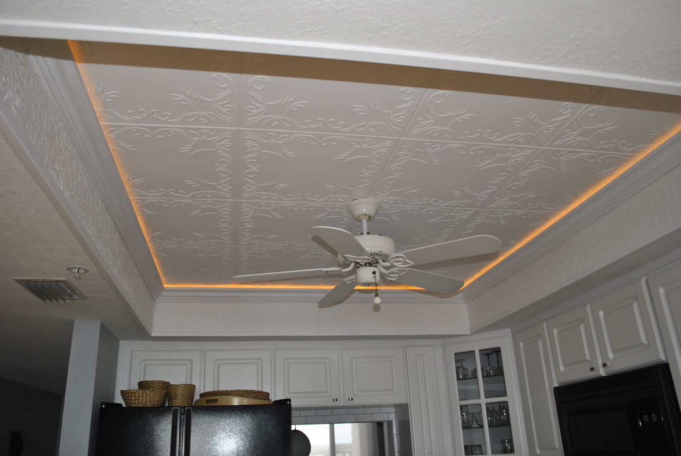 Roven Foam Decorative ceiling tiles installed in a kitchen ceiling