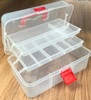This sewing box is great for storing all your sewing accessories. Once opened, there are 3 levels with 2 retractable drawers offering 9 different sized compartments. Great little organiser for all your storage needs.  1 plastic box - 30cm x 17cm x 14cm.