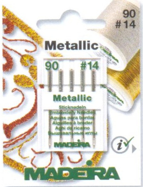 Size 90/14 embroidery needle for metallic threads, preventing thread from breaking and guaranteeing best embroidery results.  The elongated, specially coated eye easily accommodates metallic thread flow at all stitch speeds.   Each card contains 5 needles.