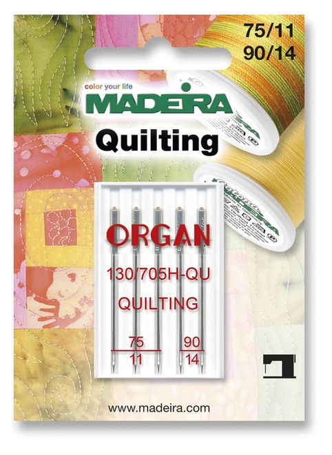 This is an assorted pack quilting needles. Perfect for piecing and quilting multiple layers of fabric and batting.  The slim, sharp point penetrates the layers whilst maintaining straight stitches every time.  Each card contains 3x 75/11 and 2x 90/14 needles per card.