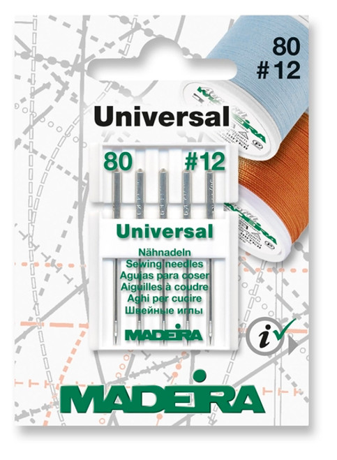Madeira' has an all-purpose Size 80/12 sewing needle of first class quality and suitable for all textiles and use in all types of sewing machines.  Ideal for use with polyester, core spun polyester and cotton threads.  For best results, use with medium weight fabrics like light and medium weight cotton, rayon and linen.  There are 5 needles per card