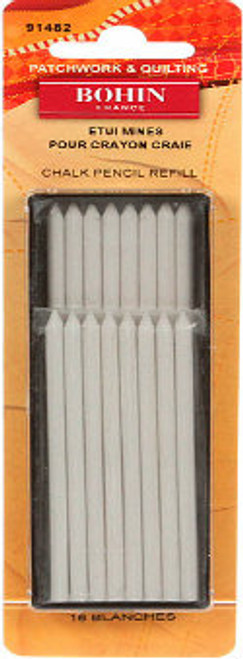 This package contains 16 White refill leads that go with Mechanical Chalk Pencil (91489). They are water soluble, wax free leads and can be washed out or erased with any fabric eraser. Includes 16 white chalk pencil refills.