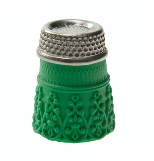 """These silicon thimbles help protect your fingers whilst sewing. They have steel tops with 1 thimble per blister pack. They are a Green colour and size  """"XL""""."""