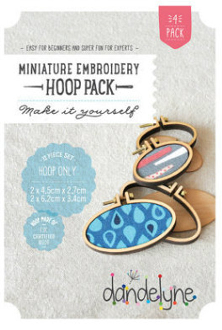 Dandelyne Assorted Horizontal Oval Embroidery Hoops   12 piece set, 4.5cm x 2.7cm & 6.2cm x 3.4cm Oval Embroidery Hoops.  Embroider, cross stitch or applique, whatever you choose to do, frame it with this tiny hoop.  Contains:      2x (4.5cm x 2.7cm) & 2x (6.2cm x 3.4cm) miniature embroidery hoops     8 Bolts and 4 screws     4x Backing Pieces with 4x Centre Plates.   Instructions enclosed, all you need is a wild imagination!  Easy for Beginners and Super Fun for Experts!   Price: $43.70 each