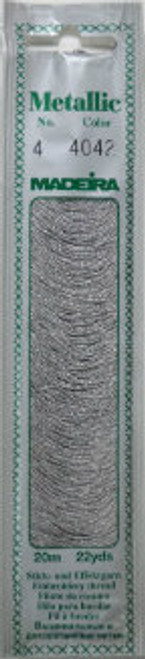 20 m 60 % Viscose– 40% metallised Polyester  Metallic No. 4 adds metallic shine and a festive look to your embroidery. It is very soft and supple and may be divided into four strands for easy embroidery onto different textures