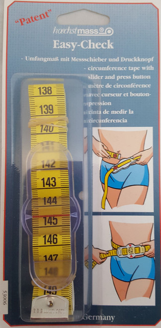 Great tape for measuring your own body measurements. Quick and accurate circumference measurement using the patented snap and sliding fastener.  Quality Polyfibre Fabric. Tape Yellow/White with graduation in black on one side: cm or analogival (cm+inch). Both ends with metal tips.   Once you reach your measurement, you can press the button which will release the tape with the measurement marked by the slider.   Each pack contains 150cm tape measure.
