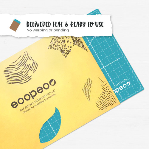 5 layers allow for a self healing surface gives you a more durable mat that can withstand intense cutting.    Reversible Eco Cutting Mat.   Odorless, no PVC and no phthalates.   Reversible mat with measurements in Inches and Centimetres