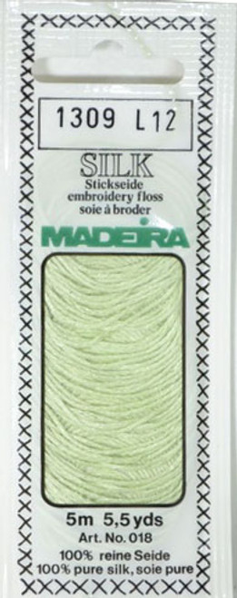5 m (5.5 yds) Art. 018 100 % pure silk 4-strand embroidery floss  Silk is the queen of all natural fibres and adds a lovely soft and luxurious lustre to your stitching.  Try Silk instead of using cotton floss and see dreams come true with the most valuable hand embroidery thread.  Silk is available in a practical non-polluting 5 m spiral pack which keeps the valuable silk thread clean and tangle free.