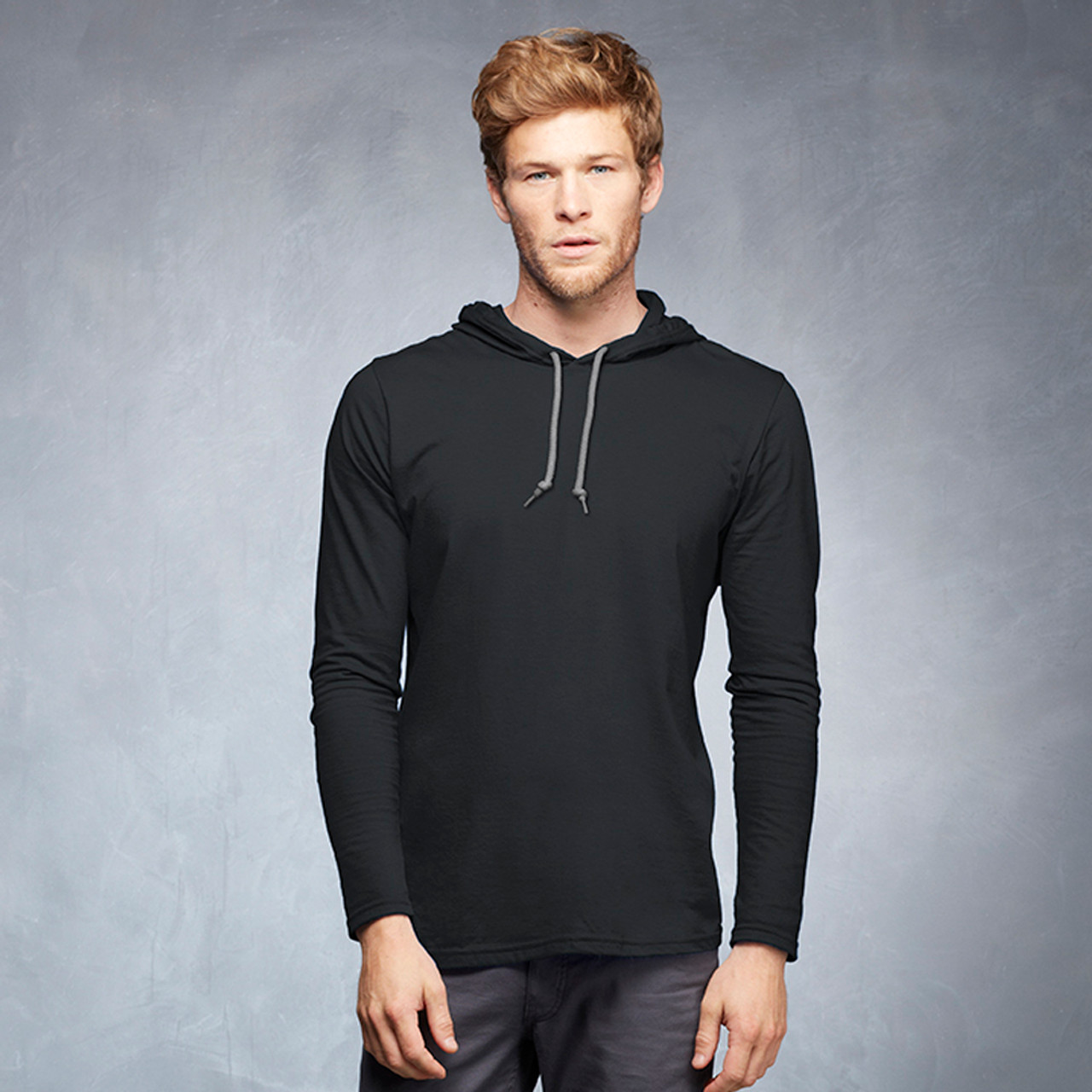 Crossover V Neckline Mens Long Sleeve Jersey Hooded T-Shirt Tee Top Fitted