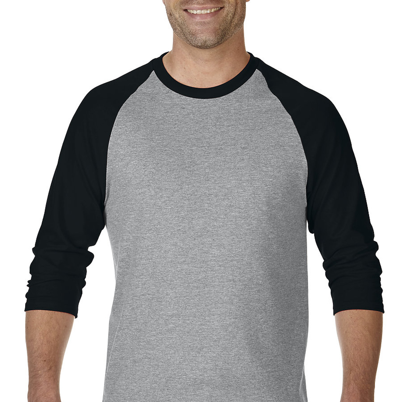 2b73f84846d 5700 GILDAN Heavy Cotton 3 4 Sleeve Raglan Tee (Sport Grey Black) ...