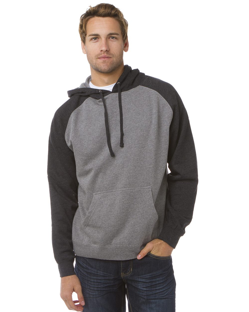 IND40RP Mens Raglan Hooded Pullover Gunmetal Heather//Army Heather XL Independent Trading Co