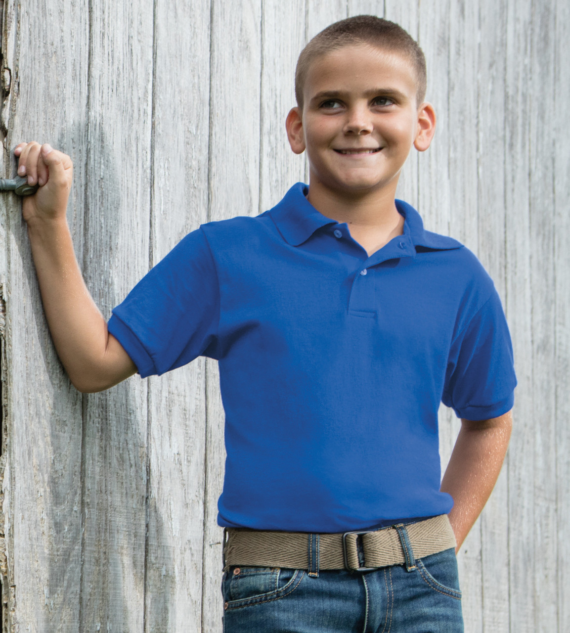 ca17925a6 054Y Hanes Youth ComfortBlend EcoSmart Jersey Polo ...
