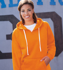 J8836 J-America Ladies' Sydney Brushed V-Neck Hooded Pullover Sweatshirt