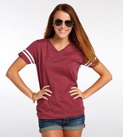 3537 LAT Ladies' Football V-Neck Fine Jersey Tee