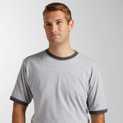 246 Tultex Unisex Fine Jersey Ringer Tee  (Heather Grey/Navy)