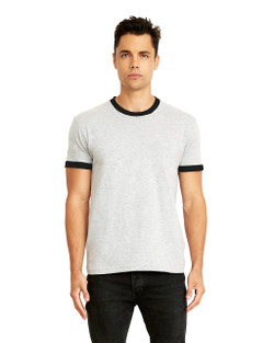 3604 Next Level Apparel Men's Cotton Ringer Tee  (Heather Gray/Black)
