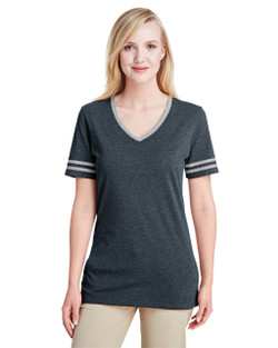 602WVR Jerzees Ladies' Tri-Blend Varsity V-Neck Tee