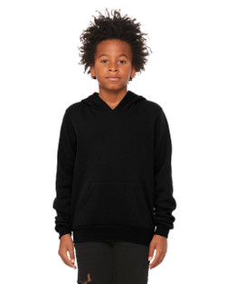 3719Y Bella Youth Sponge Fleece Pullover Hoodie  (Black)