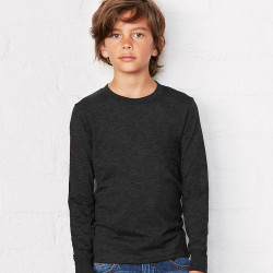 3501Y Bella + Canvas Youth Jersey Long Sleeve Tee  (Black)